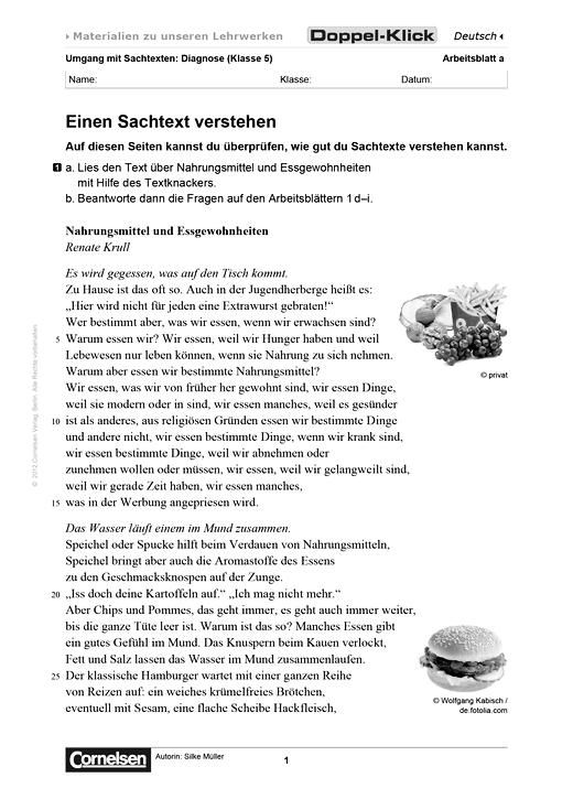 Arbeitsblatt Daz 5 Klasse Einen Sachtext Verstehen