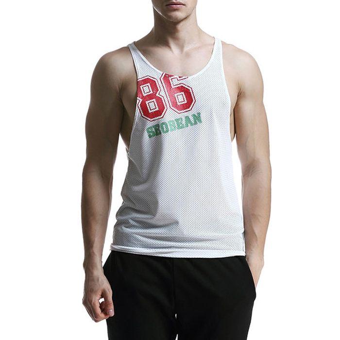 c2fbfaa0cf46 US  12.72 - SEOBEAN Mens Mesh Breathable Printed Casual Vest Fitness  Jogging Sport Tank Tops