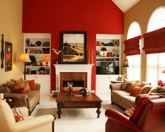 15 red themed living room designs red accents living for Red and beige living room ideas