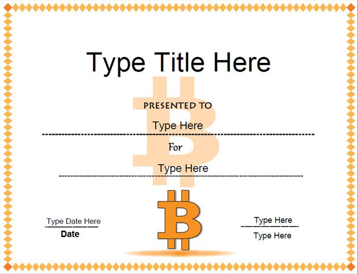 Special Certificate - BitCoin CertificateStreet - blank share certificates