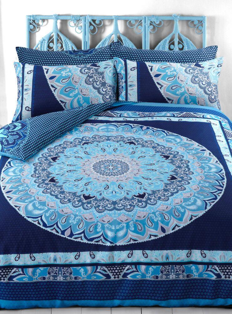 Blue Paisley Mandala Bedding Set Uk