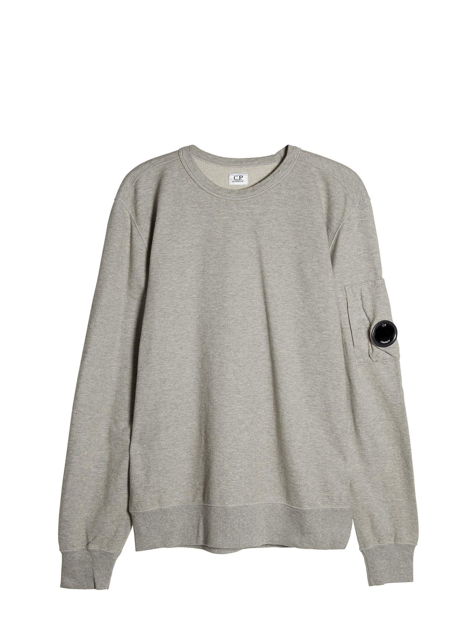 C P Company Garment Dyed Light Fleece Crewneck Sweatshirt In Grey Light Fleece Sweatshirts Garment Dye [ 2048 x 1538 Pixel ]