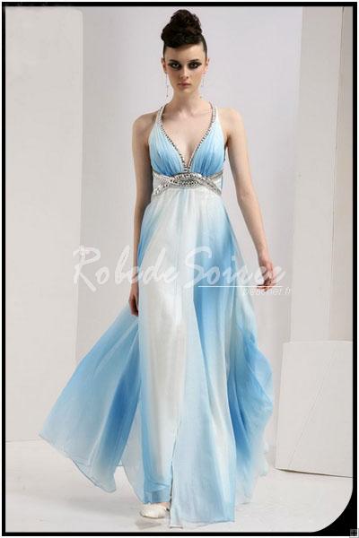 Bleu ciel snap ferm taille pendaison cou robes de soir e for Robes de mariage bleu ciel