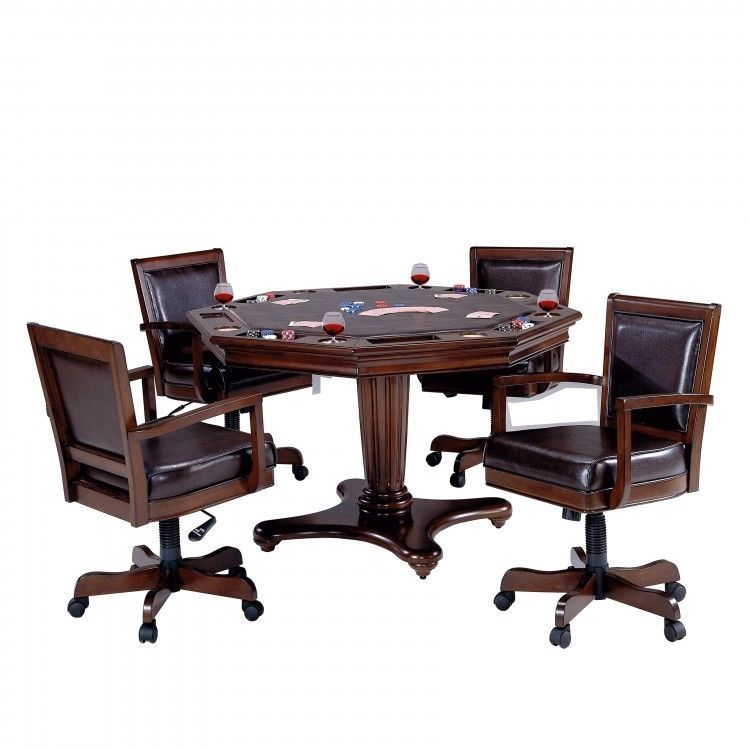 Game Table And Chair Set 5 Piece Man Cave Furniture W 4