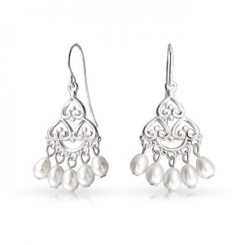 Sterling Silver Bridal Pearl Dangle Chandelier Earrings