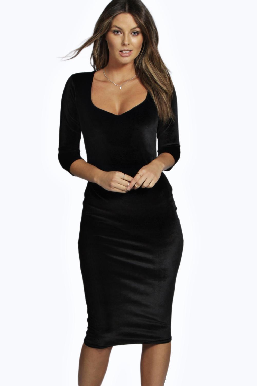 8aac6843422c6 Velvet 3/4 Sleeve Midi Dress   Boohoo Loves <3   Pinterest ...