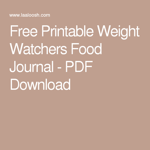 Smart image with regard to printable weight watchers journal