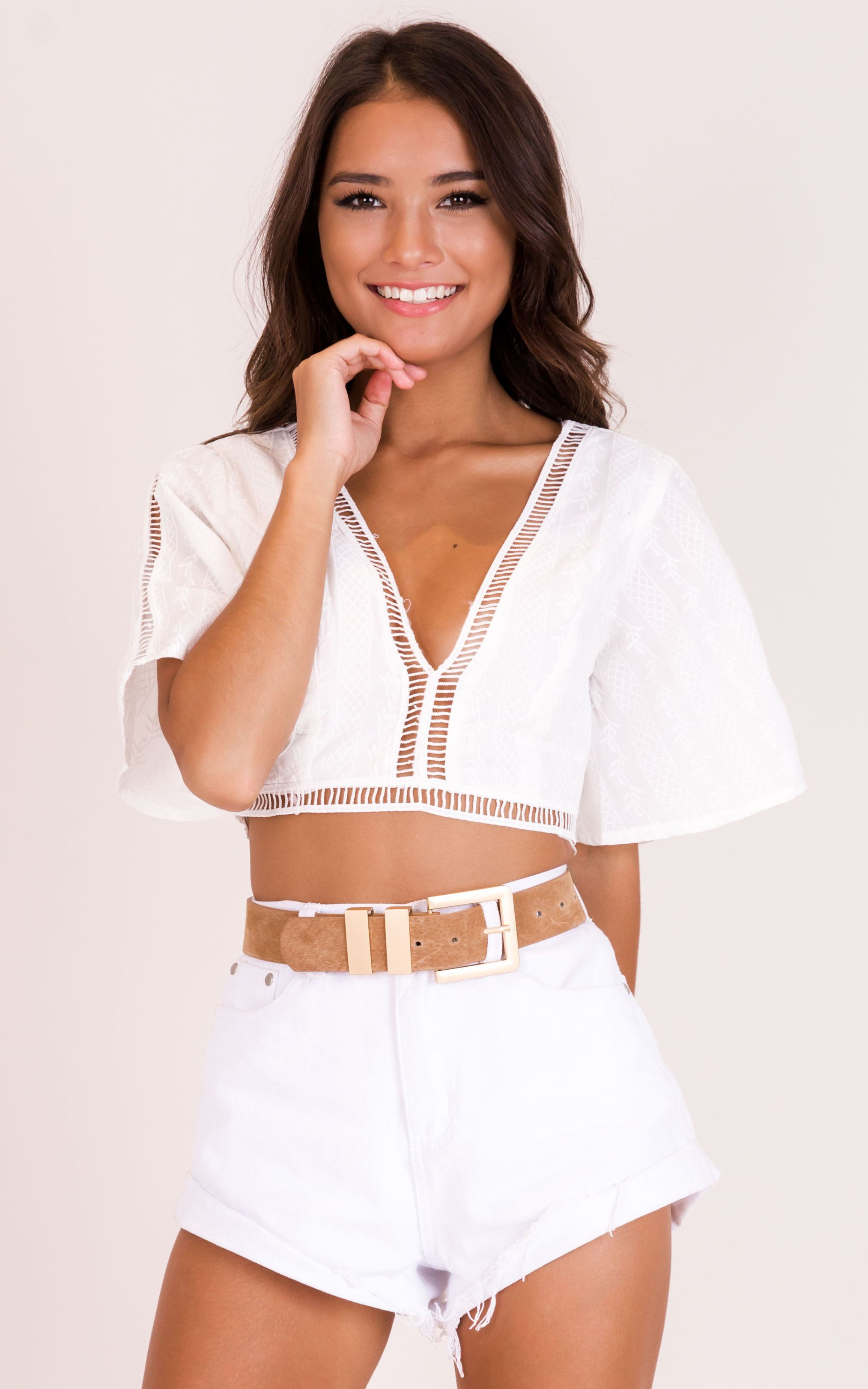 6af491e099d Everglow Crop Top In White Produced