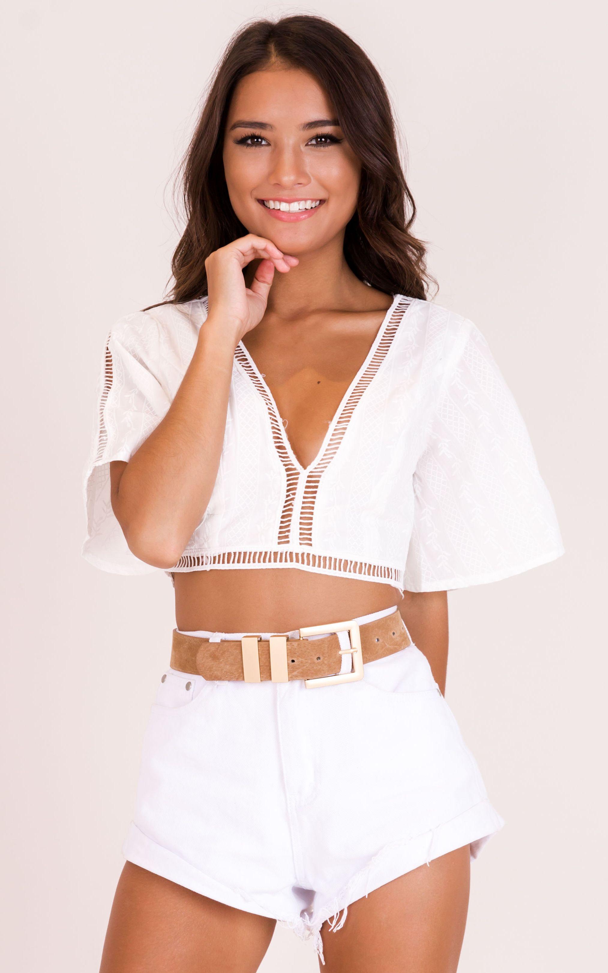 White Peasant Top, White Crop Top, White Shirt