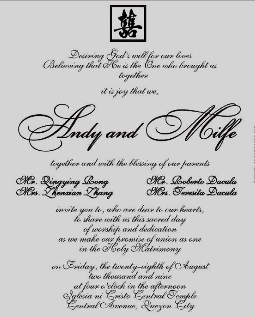 √ 5 Wedding Invitation Sample Philippines in 5  Sample