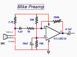 Image result for circuit diagram of mic preamp Preamp