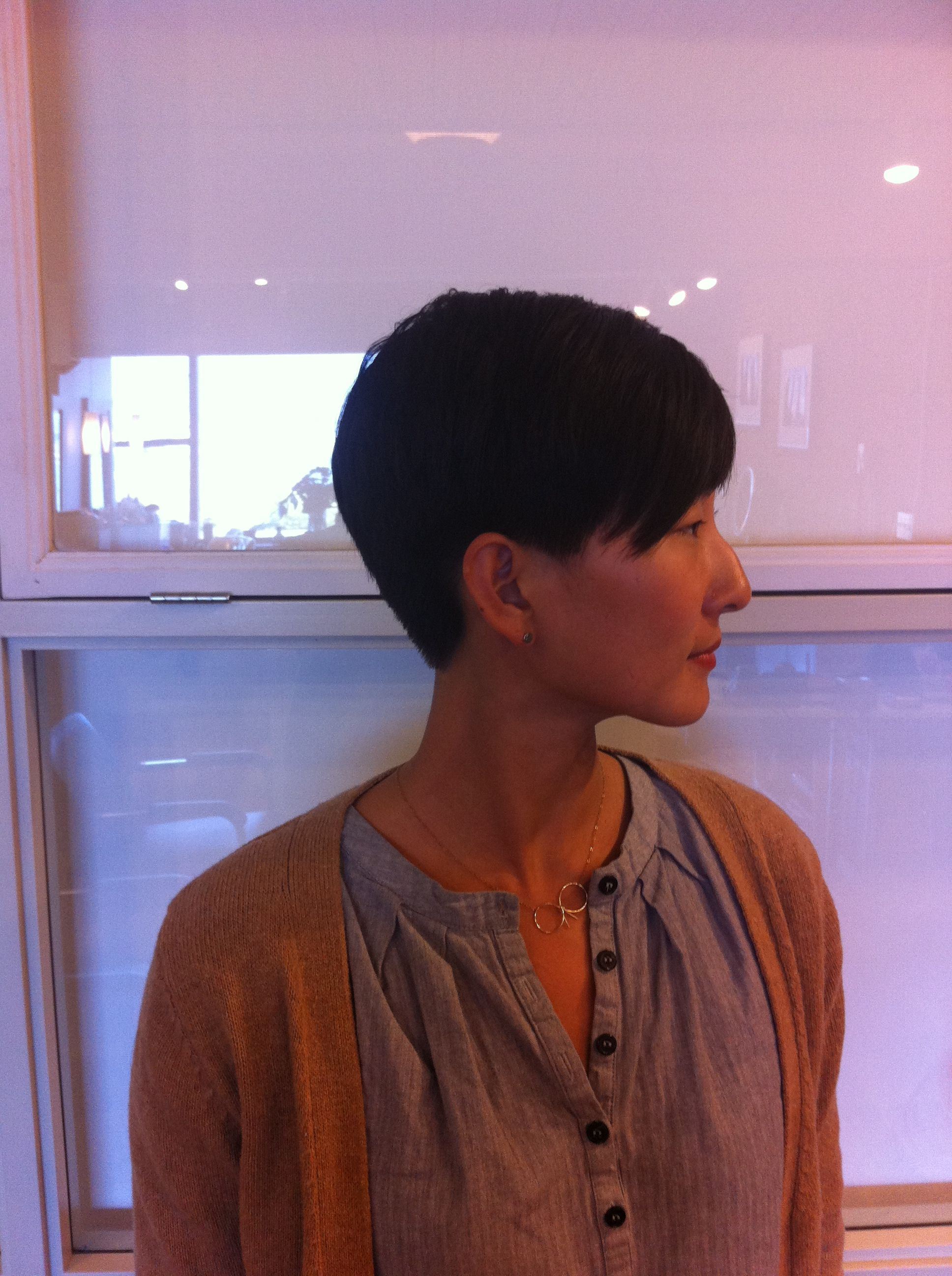 short pixie with disconnected top going to the side.