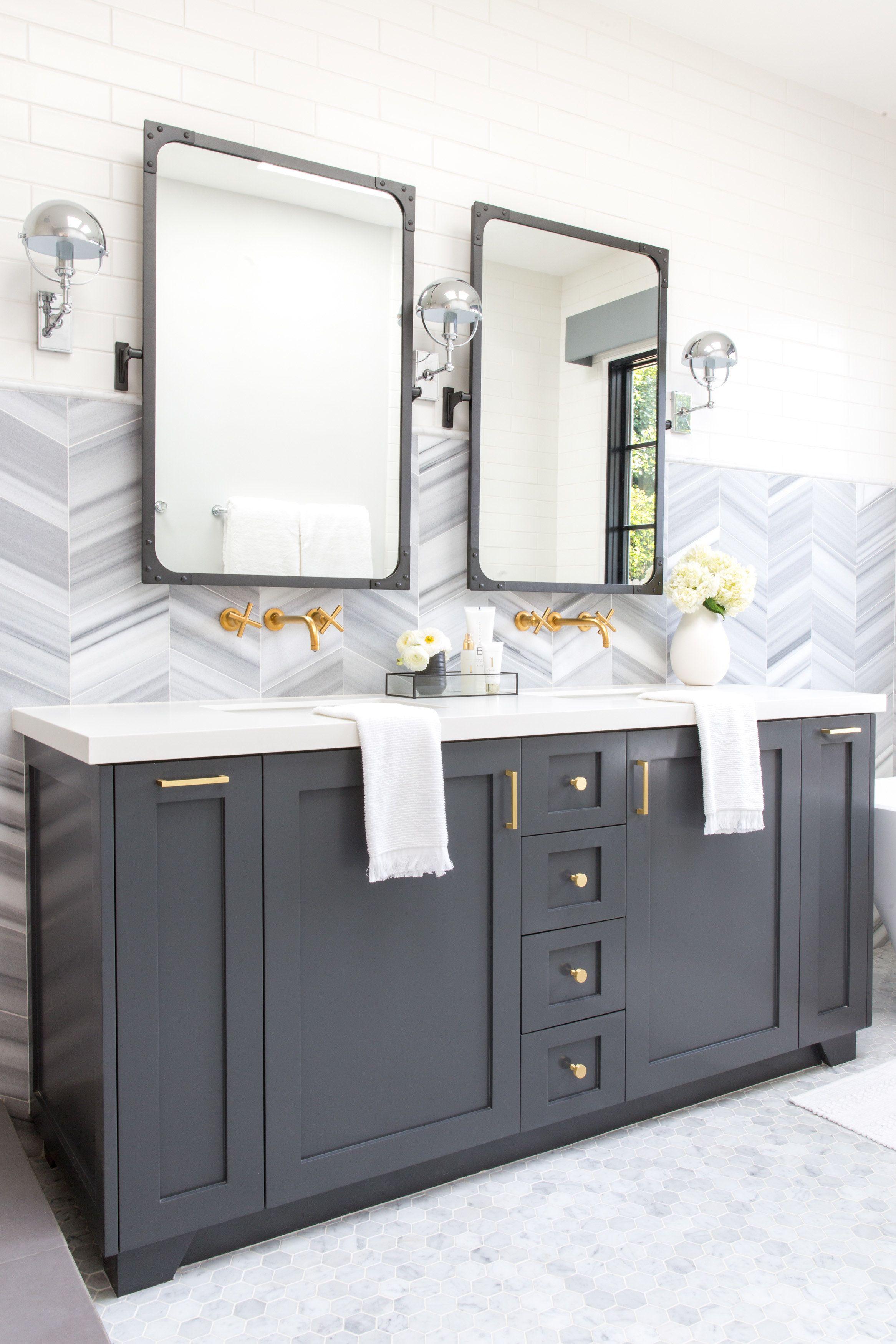 Lindye Galloway Interiors Industrial Farmhouse Grey Bathroom