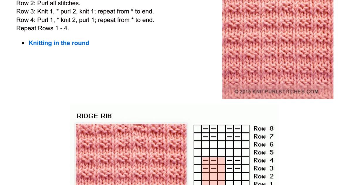 Rigde Rib - Knit and Purl stitch | Crochet | Tejidos