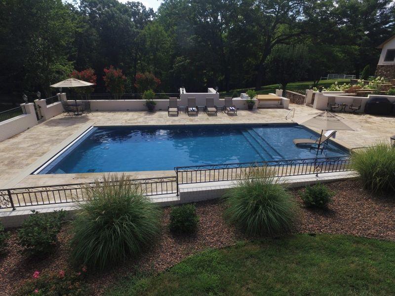 Custom Gunite Inground Pool With Full Step And Bench Umbrella