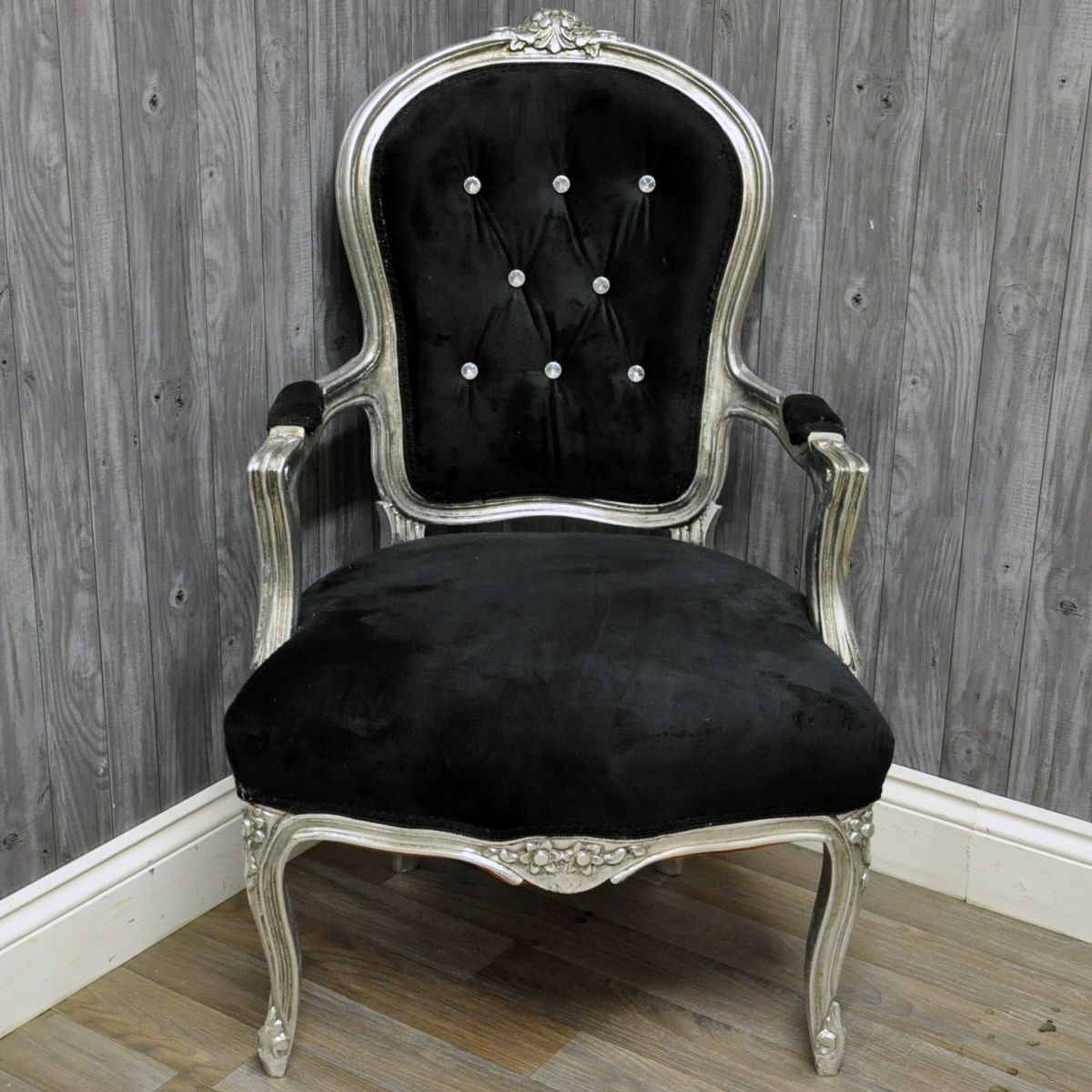 Antique Silver Finish French Style Louis Arm Chair With Black Velvet Fabric