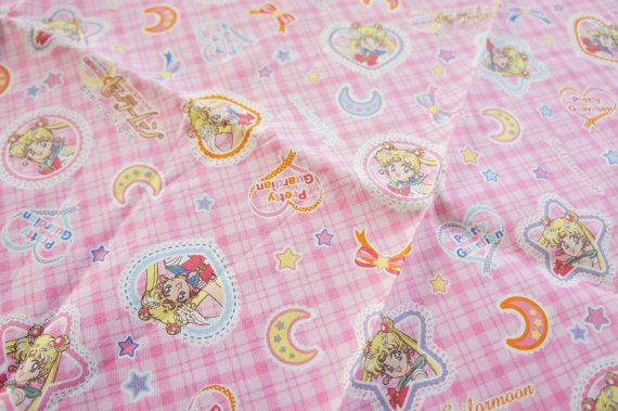 Sailor Moon Fabric Half Yard Middle Weight Pink Check