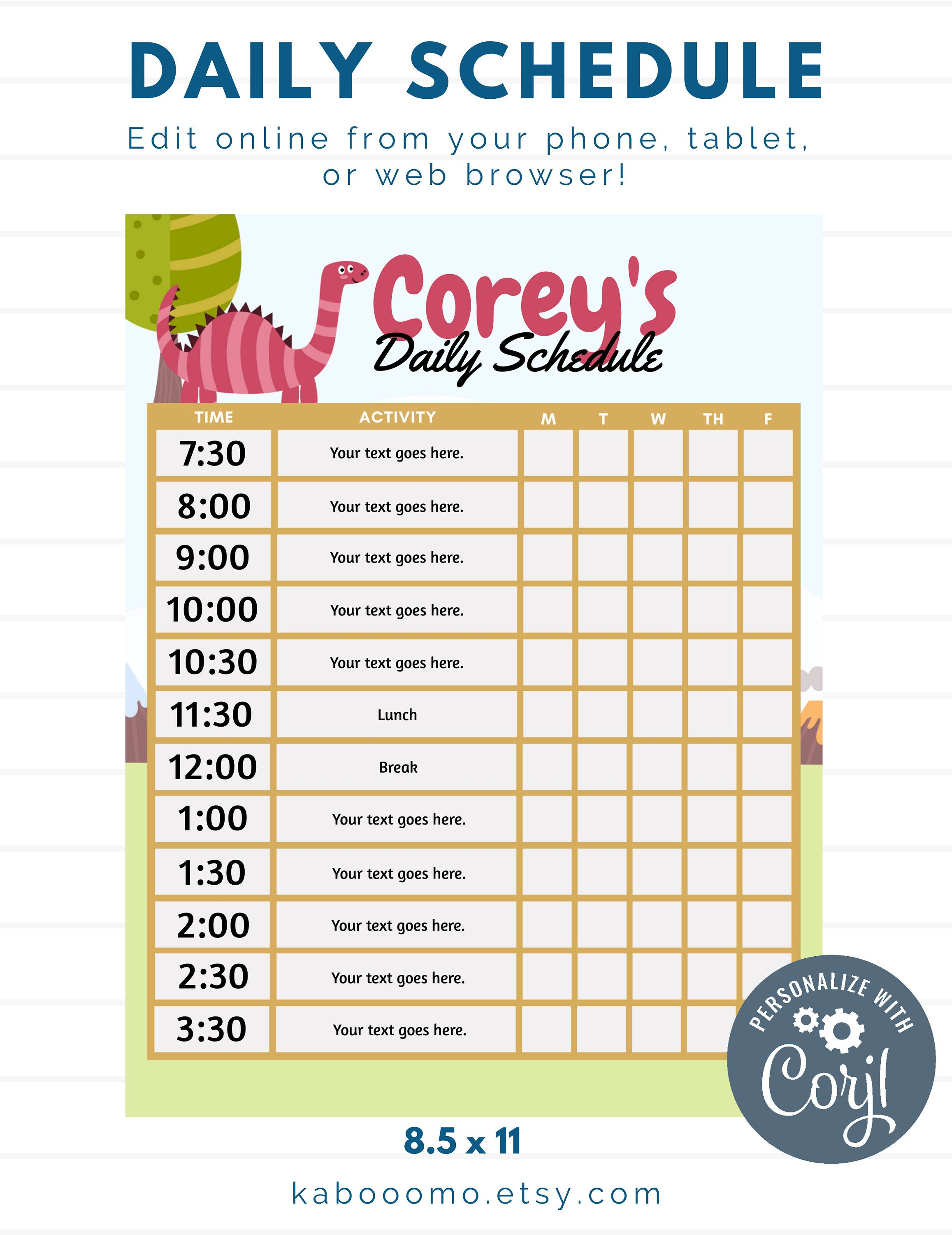 Excited To Share The Latest Addition To My Etsy Shop Editable Dinosaur Red Daily Schedule School Kid Charts For Kids Kids Schedule Daily Schedule Kids