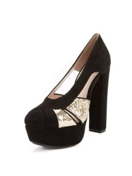 Suede Glitter Platform Pump from Spring Shoes: Up to 70% Off on Gilt