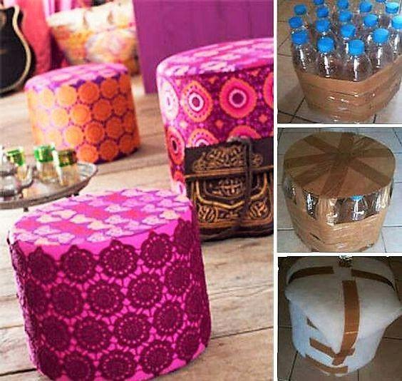 Faire un pouf avec des bouteilles en plastique | Bouteille plastique, Bricolage bouteille ...
