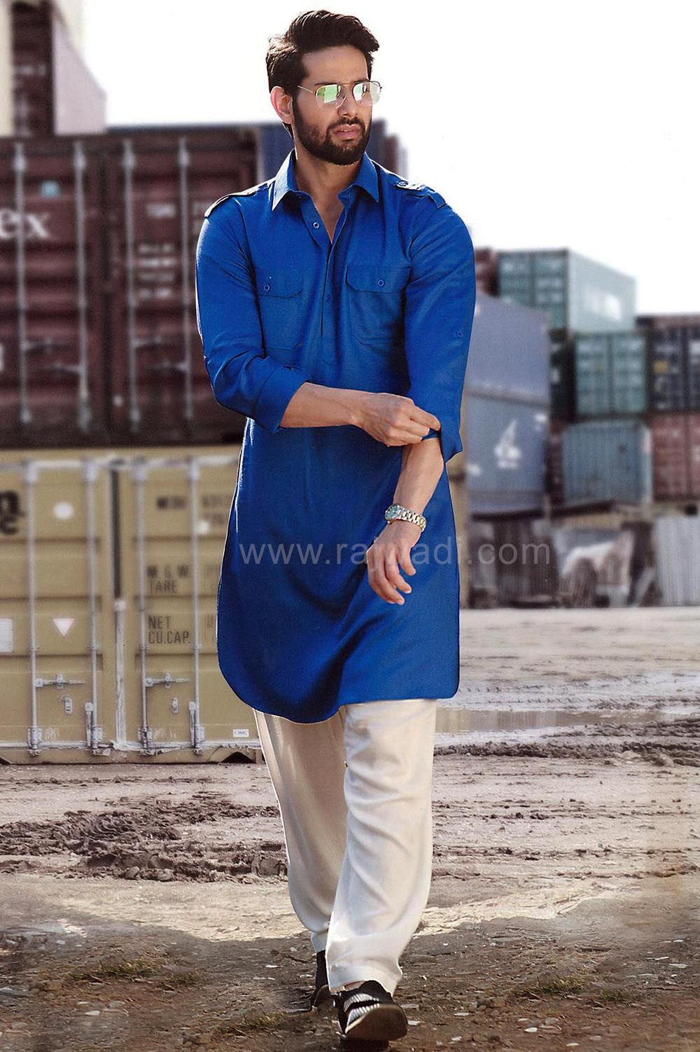 98673c4475 Shah Rukh Khan Raees Pathani Suit in Lycra Material
