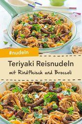 Teriyaki Reisnudeln mit Rindfleisch & Broccoli