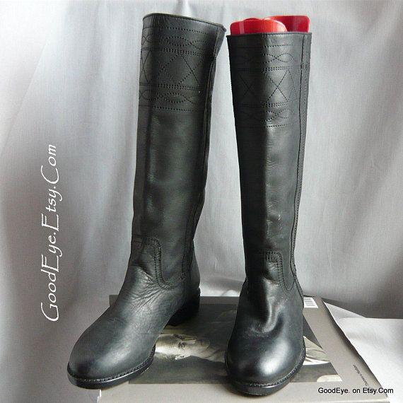 Vintage Black Leather Biker Roper Boots Ladies size Eu 37