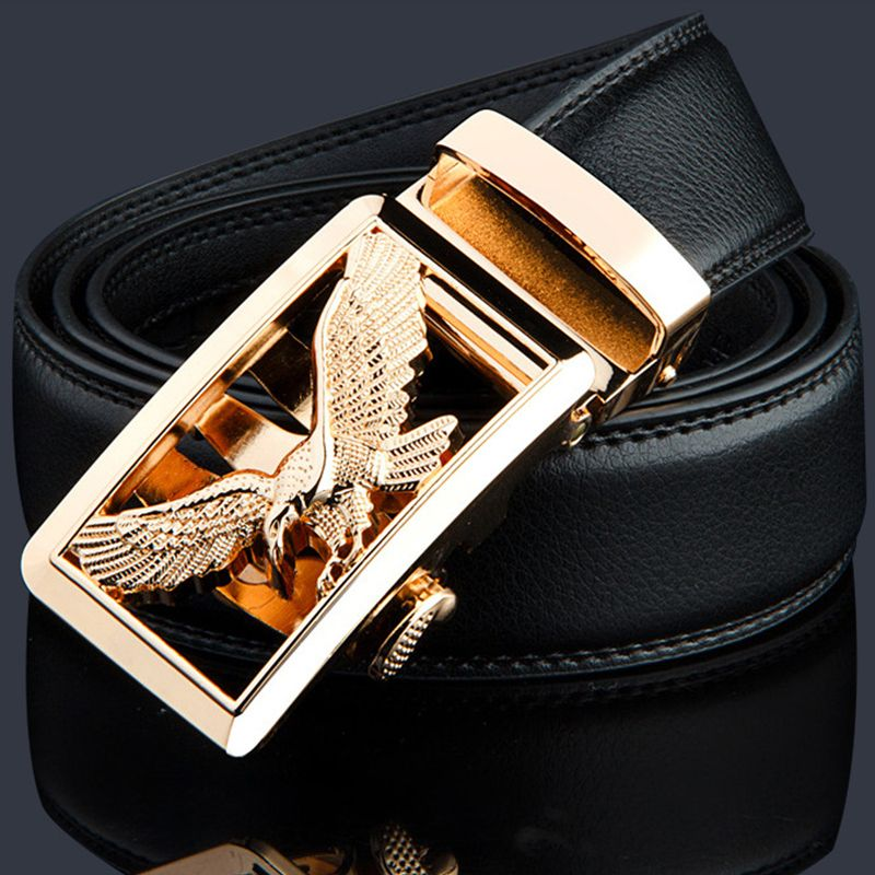 2017 Mens Fashion Genuine Leather Belt Men Belt Gold Automatic