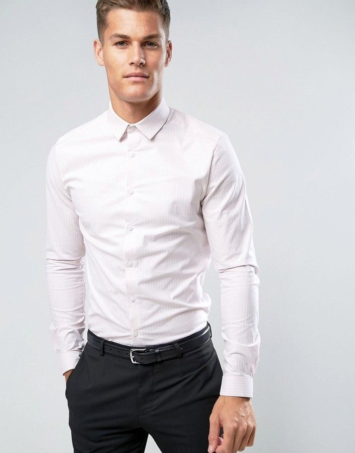 Asos Smart Stretch Slim Oxford Stripe Shirt In Pink