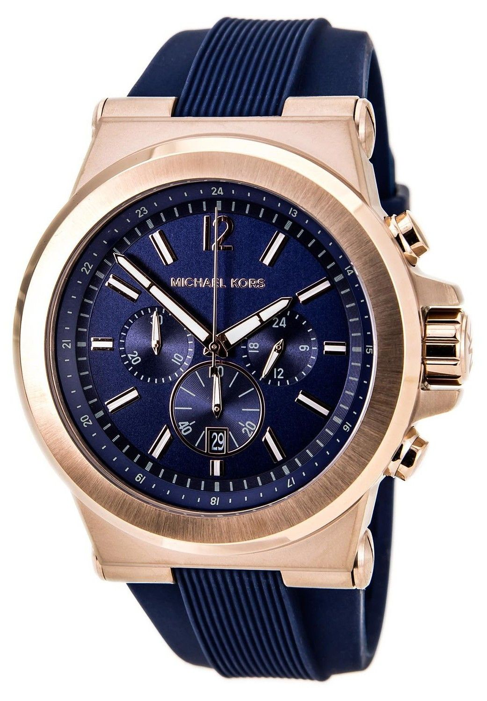 bde91f2f4792 Michael Kors Chronograph Dylan Navy Silicone Strap MK8295 Mens Watch ...