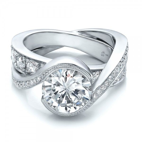 Custom Wedding Rings.Custom Interlocking Diamond Engagement Ring Wedding Custom