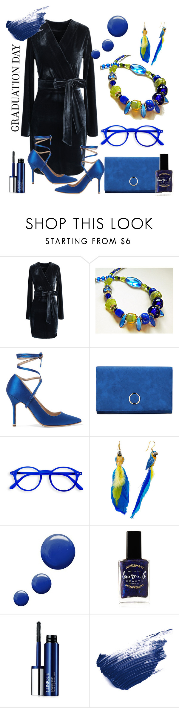 """Blue"" by mariannemerceria ❤ liked on Polyvore featuring Chicwish, Vetements, Nach Bijoux, Topshop, Lauren B. Beauty, Clinique, By Terry, Graduation and MarianneMerceria"