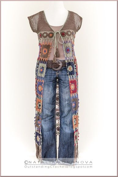 Outstanding Crochet: New crochet project Long Vest with Fringe.  Love this - so Hippy!!