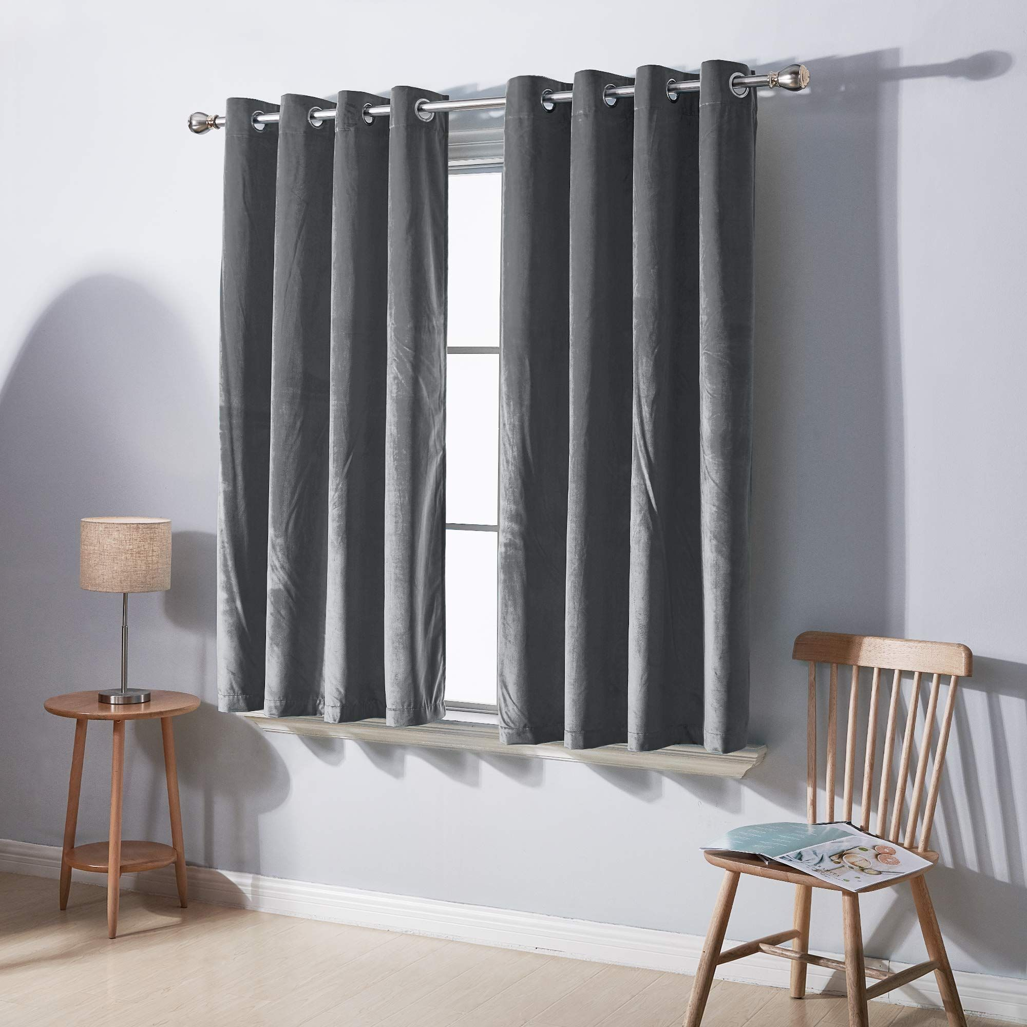 Deconovo Soft Luxury Velvet Curtains Panel 54 Inch Short Window