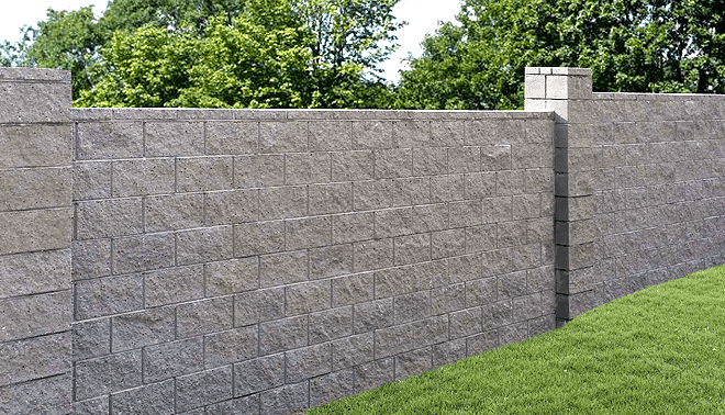 hand laid block fence | Concrete block walls, Cinder block ...