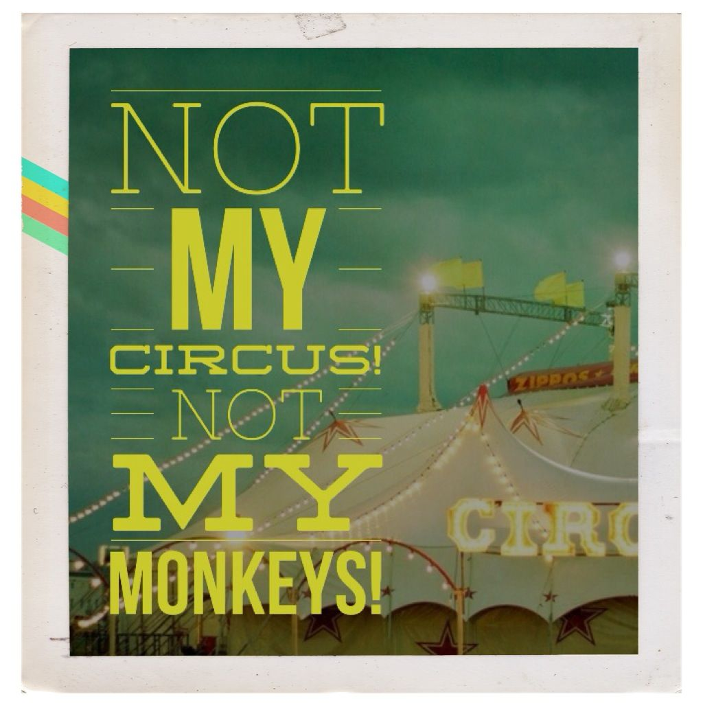 Not my circus not my monkeys this is sooooo funny