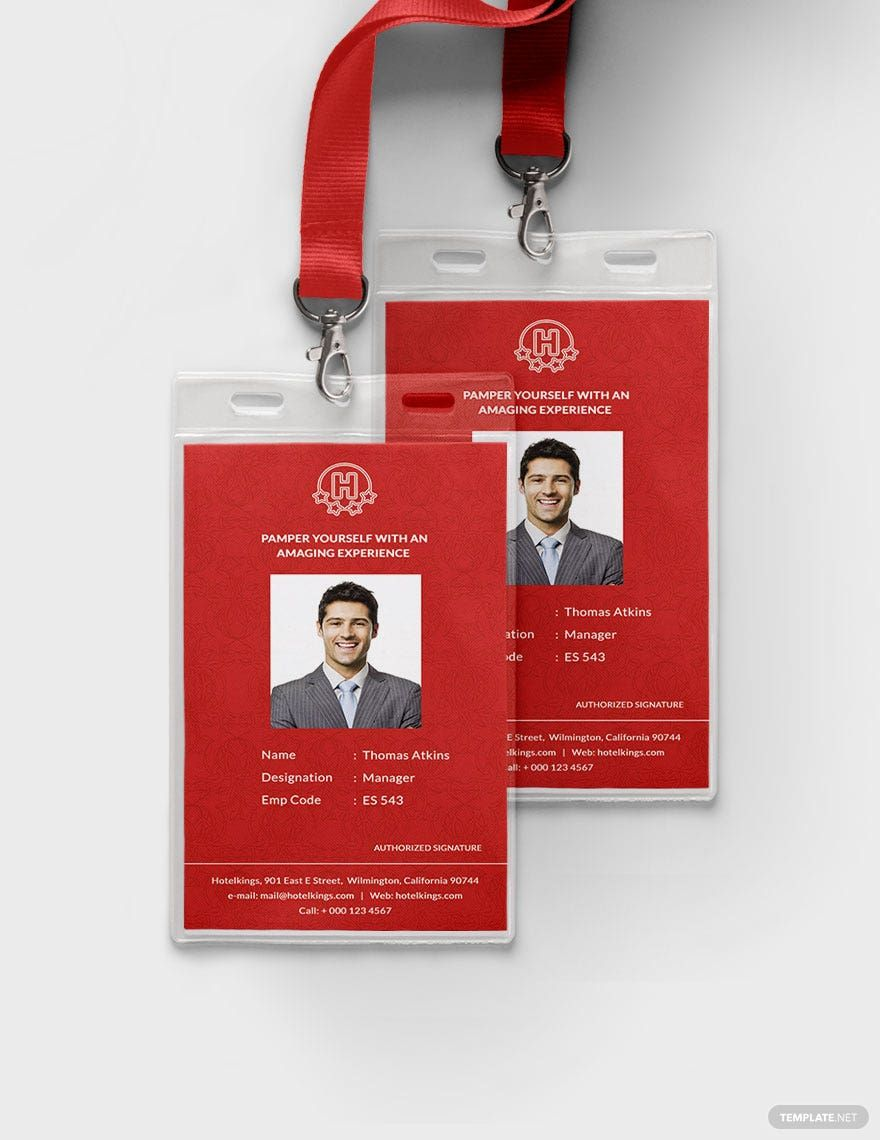 Free Editable Hotel Identity Card Template Psd Illustrator Card Template Id Card Template Printable Business Cards