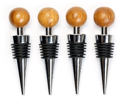 Decorative Wine Bottle Stoppers Classy Decorative Wine Stopper Set  Box Of 4 Bamboo Sphere Bottle Inspiration Design