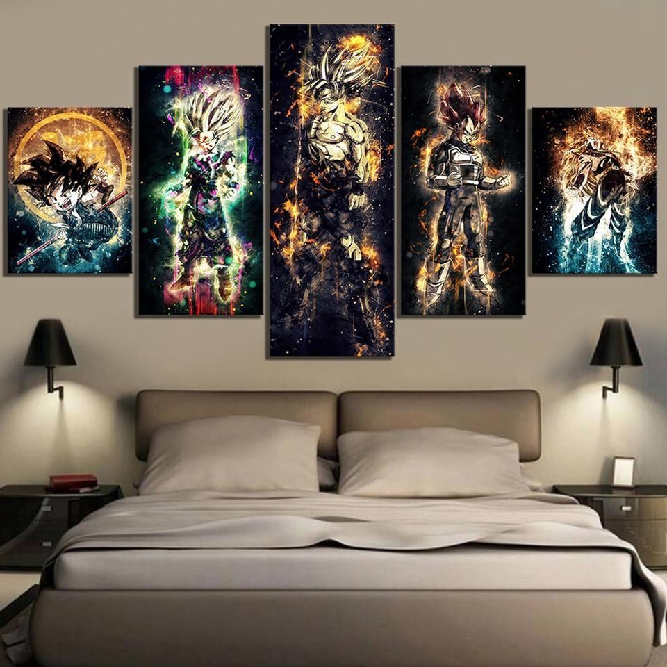 Home Decorative Canvas Hd Print 5 Pieces Seven Dragon Ball