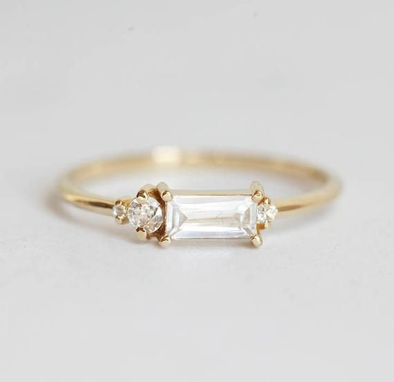 Baguette Diamond Ring, Baguette Cluster Engagement Ring Yellow Gold, Modern Diamond Cluster Ring