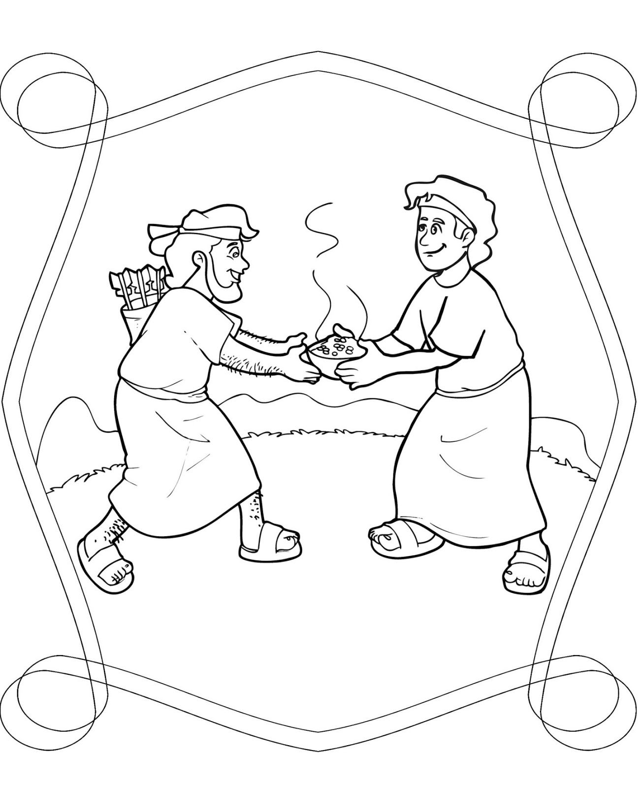 Jacob And Esau Coloring Page Free Pages Download