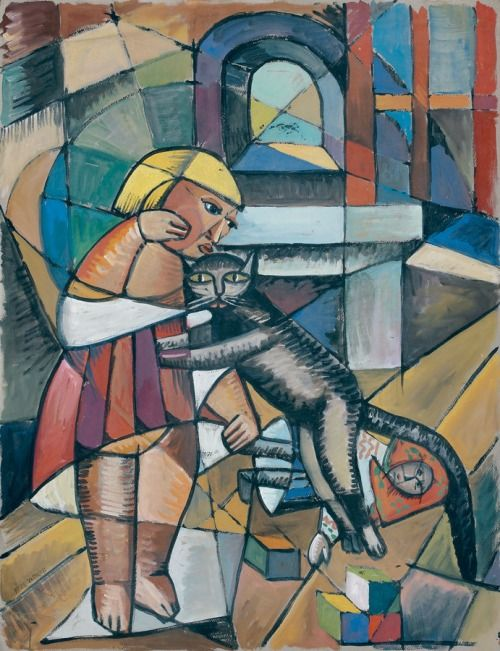 Marie Vassilieff (1884-1957) - Little Girl with cat.