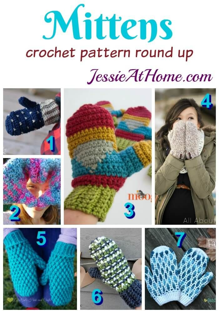 Mittens free crochet pattern round up from Jessie At Home | Crochet ...