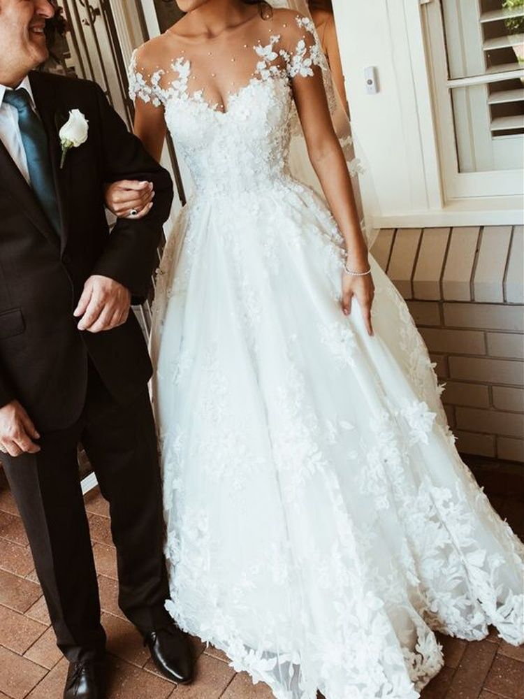 Wedding Dress  With Seethrough Part Included To Avoid Nipple Slips But Itll Be An Off The Shoulder Dress