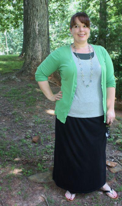 Plus size black maxi skirt, tee, green boyfriend cardigan ...