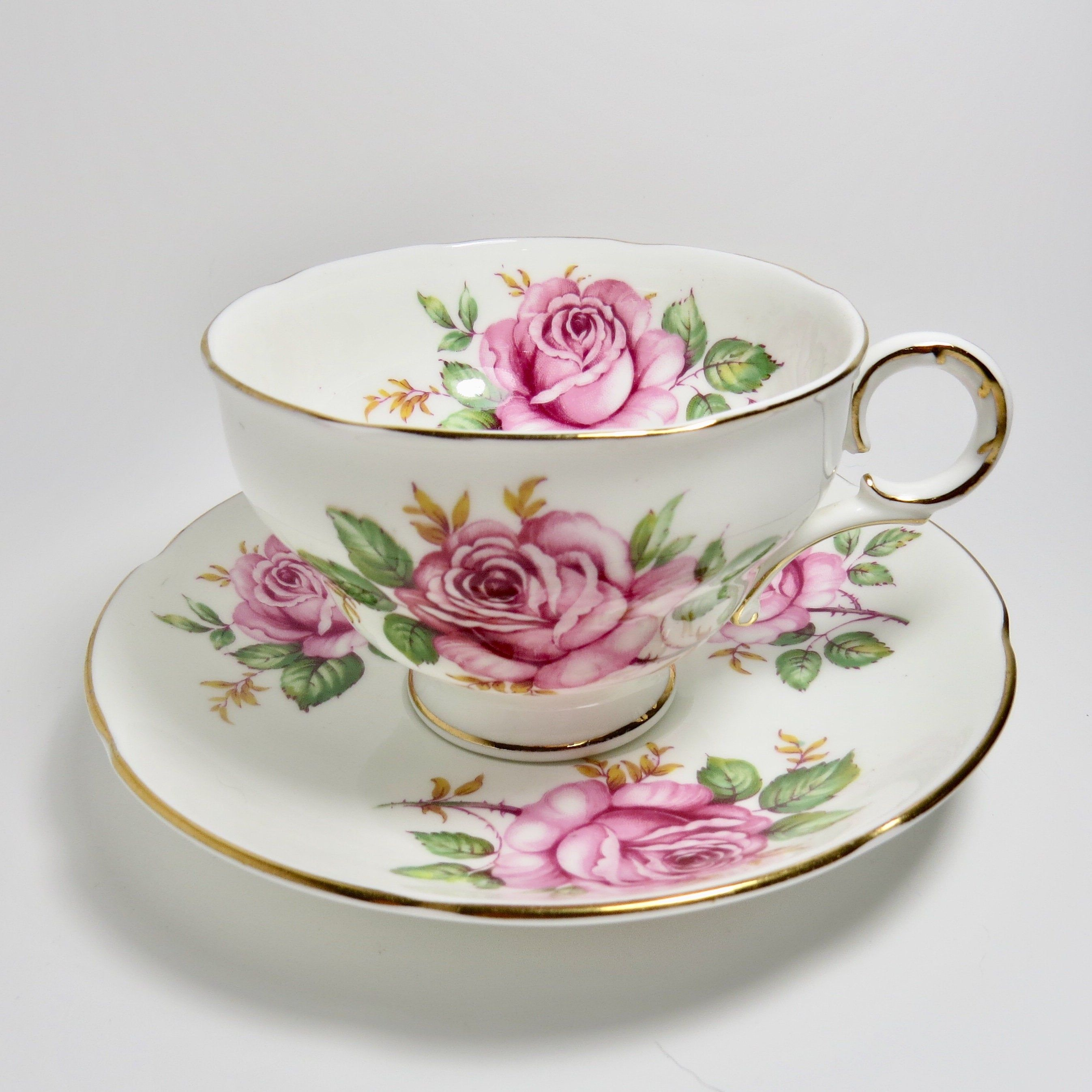 Vintage Adderley Pink Roses Tea Cup and Saucer Set, Bone China #teacups