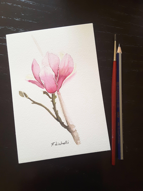 Fiore di magnolia, dipinto originale, pezzo unico, idea regalo per ...