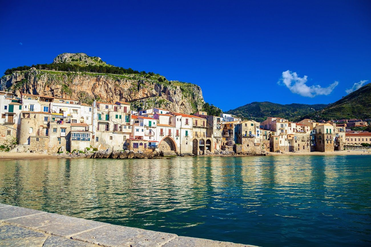 Beautiful Cefalu in Sicily during a yacht cruise in