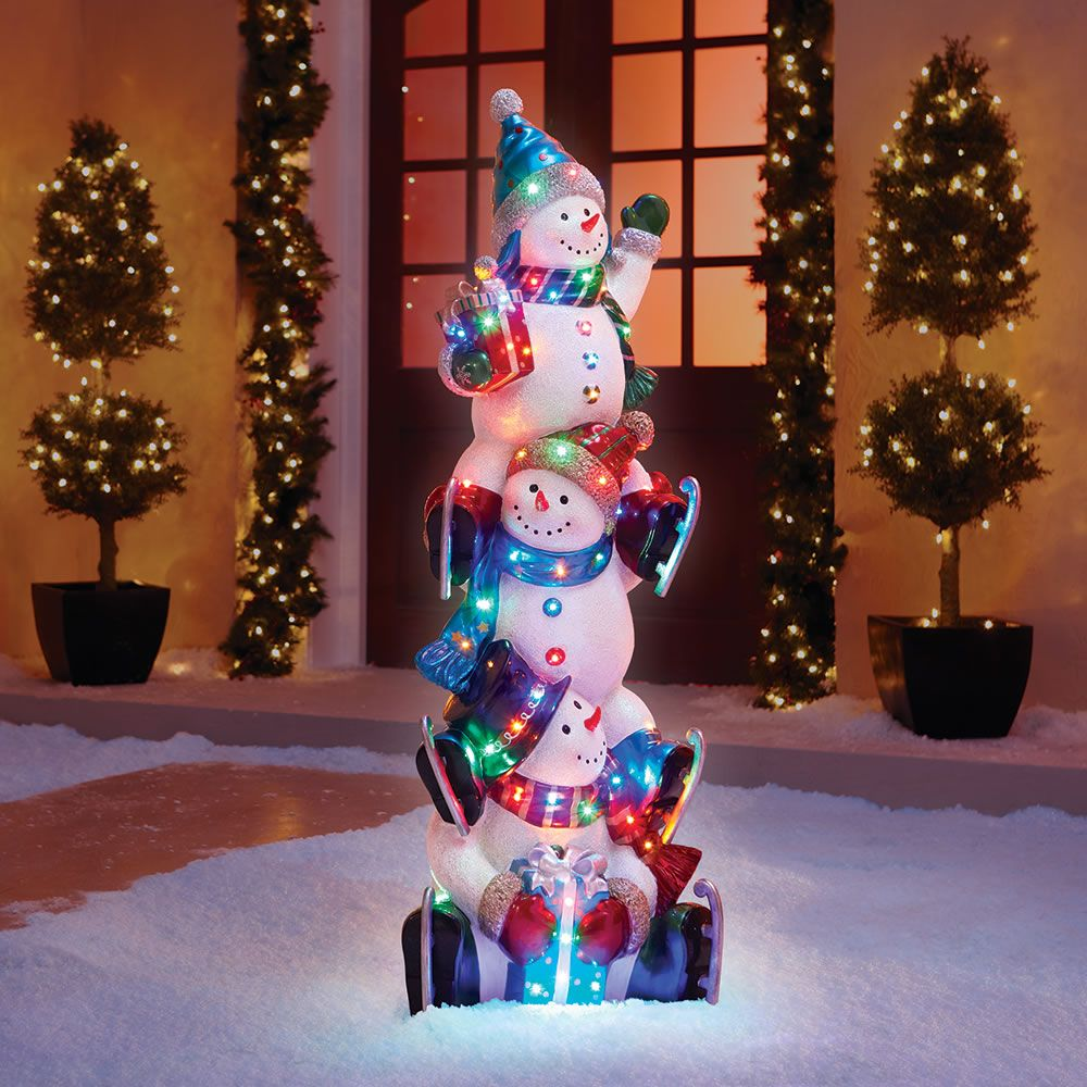The 5' Illuminated Snowman Totem Pole Hammacher