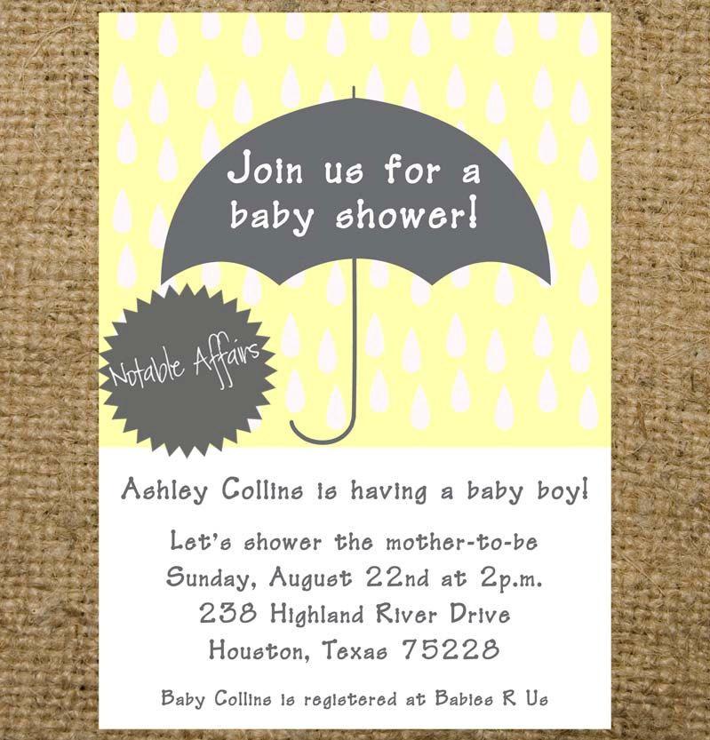 PRINTABLE Baby Shower Bridal Shower Umbrella and Rain drops ...